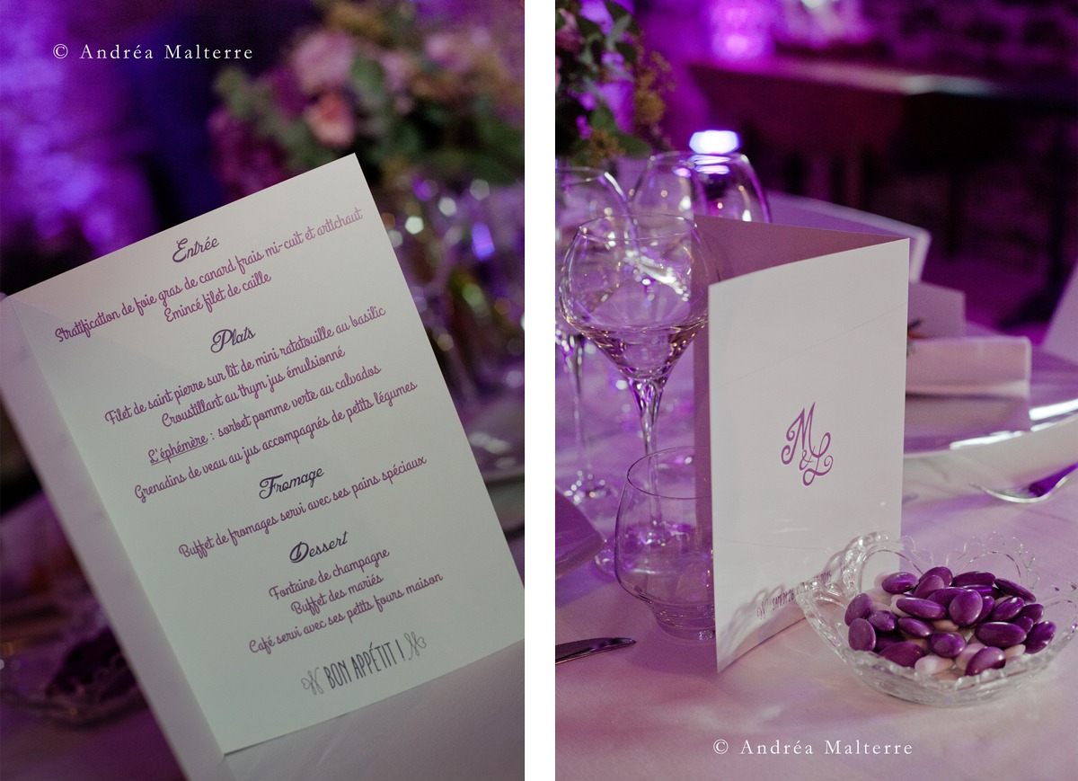 Papeterie de mariage menu M&L