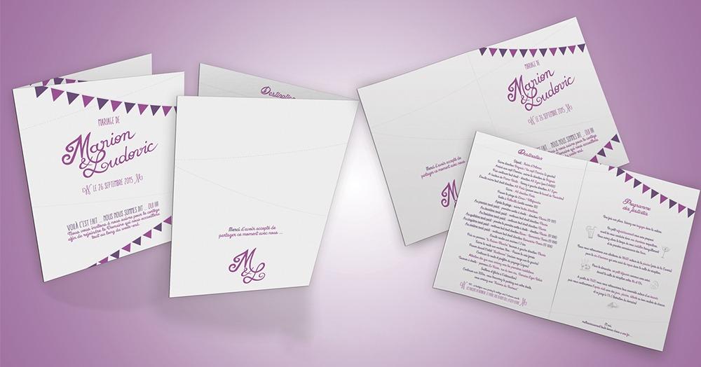 Papeterie de mariage programme et roadbook M&L