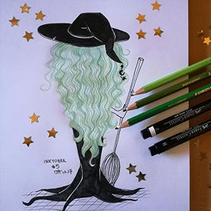 Crayons de couleurs et encre