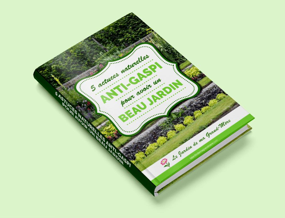 Conception graphique de l'ebook 5 astuces naturelles anti-gaspi pour avoir un beau jardin